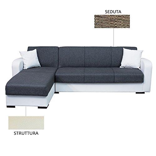 Esse italia divano letto con penisola crema e marrone c/contenitore 260x160xh. 82cm