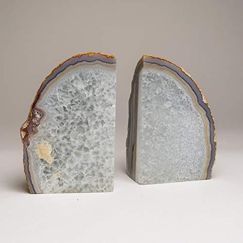 Astro Gallery of Gems Buchstützen aus Brasilien mit Quarzbändern und Achat