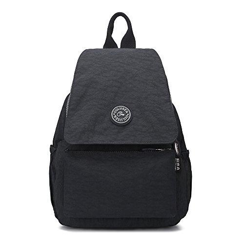 Rektech bereal casual zaino borsa, piccolo leggera impermeabile multi-tasche sportivi e outdoor tempo libero zaino tracolla sacchetto (nero)