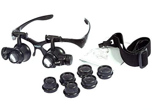 Vergrößerungsglas Brillen-Lupe mit LED-Licht 10-mal 25-fach Doppel-Augen-Maske Kopfmontage Vergrößerungsspiegel beleuchtete Lupe -