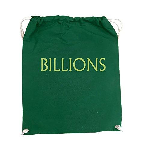 Comedy Bags - BILLIONS - LOGO - Turnbeutel - 37x46cm - Farbe: Schwarz / Silber Grün / Grün