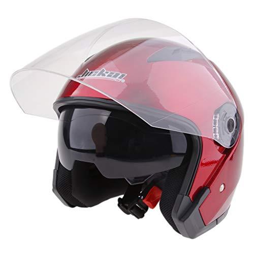 5ed79826b4598 Sharplace Casco de Cara Abierta Motocicleta 3 4 Con Visera Completa Unisexo  Motociclista - rojoXL