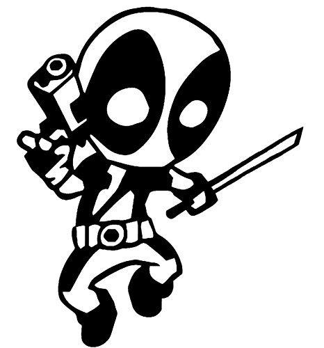 Teen Deadpool Vinyl Aufkleber Sticker|Cars Trucks Vans Wände Laptops|Black|5.5in|kcd586 (Deadpool Kostüm Ryan Reynolds)