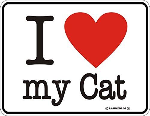 Original rahmenlos targa in metallo per il gatto amante: i love my cat.