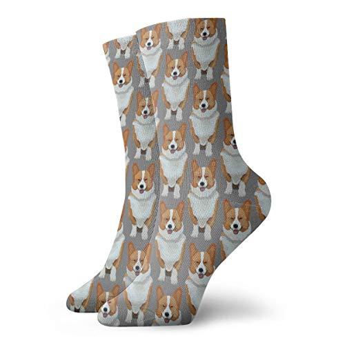 rouxf Mode Socken Süße Corgis Welpen Unisex Sports Crew Socken Kurze Socke 8,5 x 30 cm