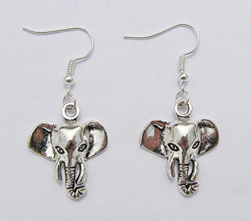 Elefant Ohrringe, Silber Farbe Charme und, versilberte Haken Moderner Stil ()