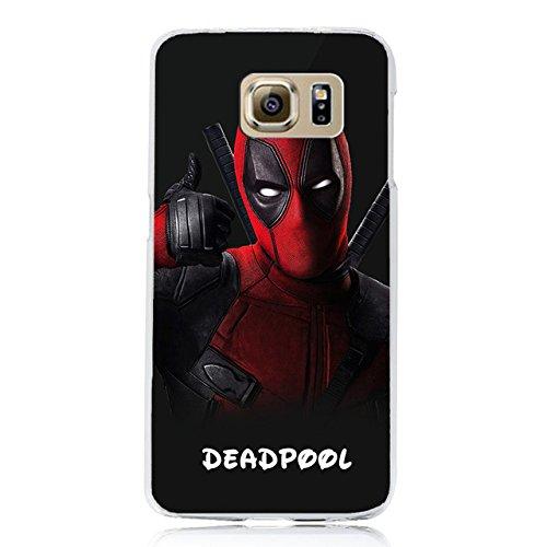 Rot Schwarz Deadpool Thema Galaxy S7Edge Hard Fall Marvel Avengers Dead Pool Print Samsung S7Edge Cover Cartoon Comic-Superheld Gehäuse Dünn Handy Schutzhülle Spannbetttuch, kratzfest, stoßfest, Kunststoff