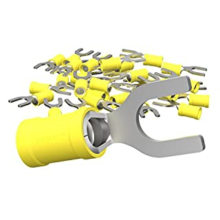 AUPROTEC 100x Fork Connectors 4.0 - 6.0 mm² yellow AWG 12 - 10 hole-Ø M3.5 SV PVC semi-insulated Electrical Crimp Connector tinned copper Spade Terminals