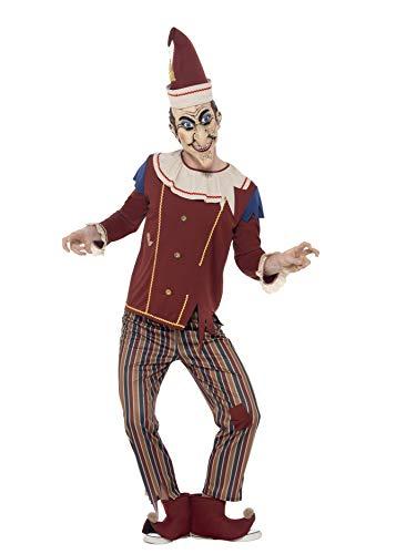 Smiffys 45576L - Herren Kasper Kostüm, Oberteil, Hose, Hut, Stiefel Überzieher und Latex Maske, Größe: L, - Hut Kostüm Maske