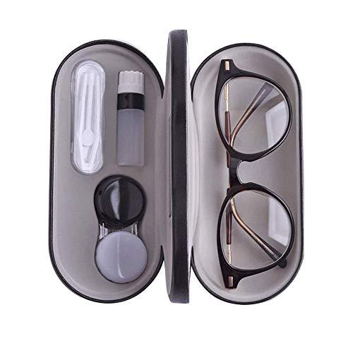 snaked cat Tragbare Brillenbox für Kontaktlinsen und Gläser, doppelschichtig, mit Brillenetui, kreatives Kontaktlinsenbehälter, Brillen Gr. 15.8x7.5x5 cm, siehe abbildung