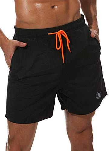 FITTOO Herren Verstellbare Schnelltrocknende Kurze Badehose mit Taschen und Mesh-Futter Schwarz S