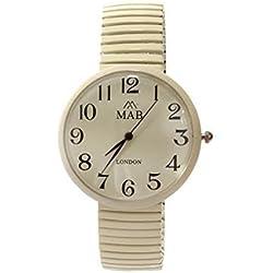 Unisex Cream Coloured Expandable MAB Designer Fashion Metal Watch Round Bracelet Extra Battery