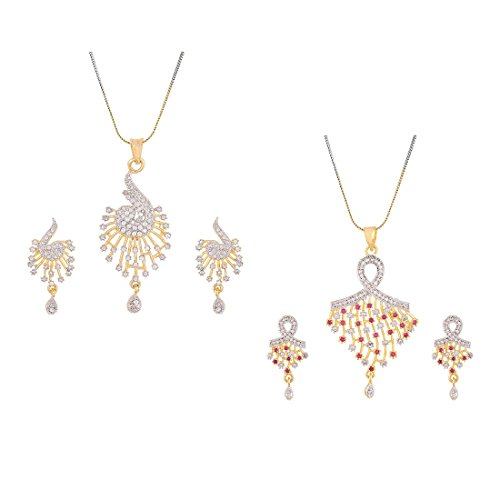 Aabhu Gold Plated American Diamond Combo of 2 Traditional Pendant Set Necklace With Earrings Jewellery For Women And Girls