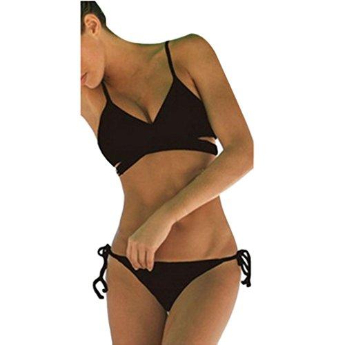 Goodsatar Mujer Hacer subir Sujetador con relleno Vendaje Traje de baño conjunto bikini Bañador de Triángulo 2 piezas (M, Negro)