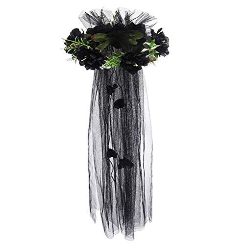 n Party Kranz Tiara Braut Urlaub Simulation Blume Haarschmuck Kostüm Zubehör Prinzessin Rose Veil (Schwarz) ()