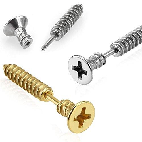 1 x Gold überzogen X Kreuz DIY Schraube Lobe, Tragus oder Knorpel Piercing Dicke: 1,2mm Länge: 6mm (Geburt Kostüme Diy)