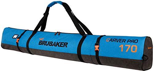 Brubaker Carver Performance Skisack für 1 Paar Ski und Stöcke - Blau meliert Schwarz - 170 cm -