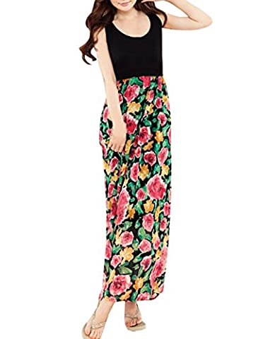 Allegra K Women Scoop Neck Sleeveless Floral Chiffon Maxi Dress XL Black