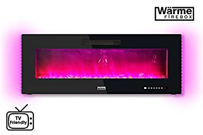 "Wärme Firebox Designer Electric Fireplace - 50"" - Remote Control - 1Kw & 2Kw - Wall Mountable (Free Wall Bracket Included) - 2 Year Warranty - Electric Fireplace - Multi Colour Flames - Multi Colour Side LED Lights - Patented Haze Flame Technology"