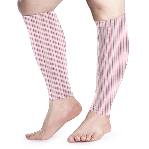 Pink Stripe Calf Compression Sleeve - Leg Compression Socks for Shin Splint Calf Pain Relief Fit for Men Women and Runners Active Run Thermal