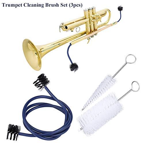 Kit di Pulizia Tromba, Spazzola per la Pulizia per Tromba Accessorio per la Manutenzione di Strumenti Musicali(Pennello Boccaglio, Pennello Valvola, Spazzola Flessibile)