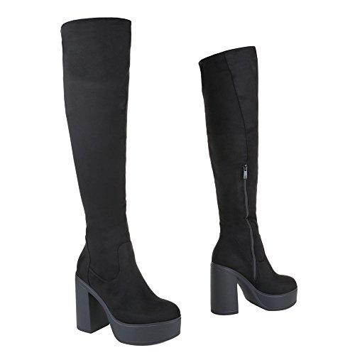 Overknee Stiefel Damen Schuhe Klassischer Stiefel Pump Plateau Reißverschluss Ital-Design Stiefel Schwarz