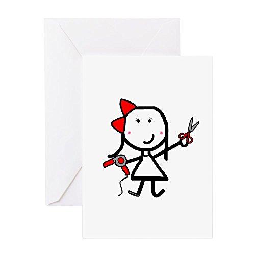 CafePress–Girl & Haartrockner–Grußkarte, Note Karte, Geburtstagskarte, innen blanko, matt