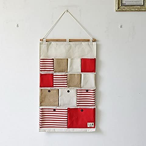 Yiuswoy Neu Lovely 13 Pockets Stripe Splicing Design Wall Door