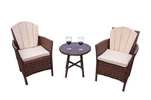 Galleria fotografica Yakoe 50162Eton gamma mobili da giardino, veranda patio divano sedie e tavolo tondo da caffè, colore marrone ( pezzi)