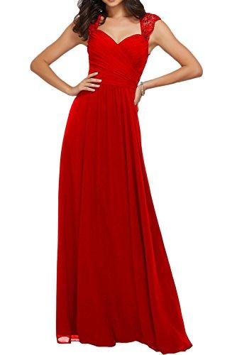 Promgirl House Damen Fashion Brautmutterkleider Chiffin Tüll Lang Träger Partykleider Abendkleider Cocktail Ballkleider Lang Rot