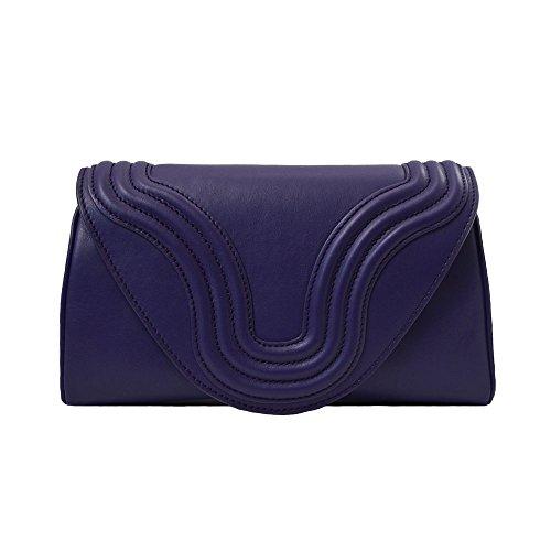 """BORGENNI borsa da donna tipo pochette a tracolla pochette piccola in vera pelle con tracolla, """"La Sei"""" Viola"""