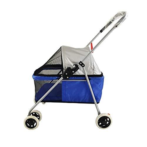 Wcxxhy Kinderwagen, Outdoor-Reisen Dreirad Faltwagen Warenkorb Baby Cage for Hunde Katzen Teddy Medium Und Kleine Behinderte Hunde Carts (Color : Blue) - Groß Warenkorb