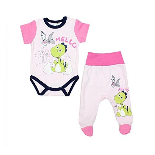 TupTam Unisex Baby Bekleidungsset mit Aufdruck 2 tlg, Farbe: Dino Rosa, Größe: 56