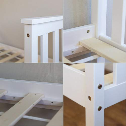 Homestyle4u 1417 Holzbett Kiefer massiv, Einzelbett aus Bettgestell mit Lattenrost, 70×140 cm, Weiß - 3