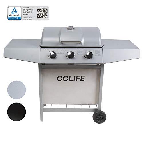CCLIFE Gasgrill Grillwagen Gas Grill Barbecue Toronto Grill 3/4/5/6 Brenner TÜV geprüft, Farbe:Silber, Größe:3 Brenner