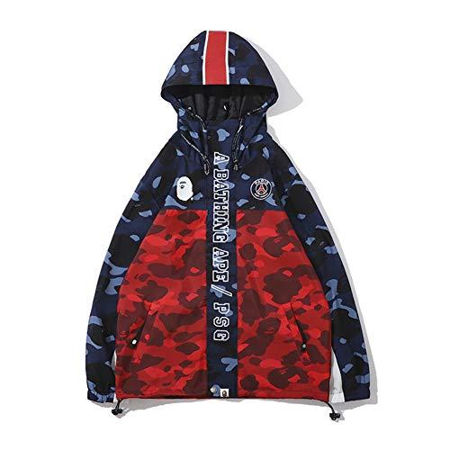 cdbfcc0a8b6 Bape co Camouflage Blue Red Windbreaker Jacket For Men Women