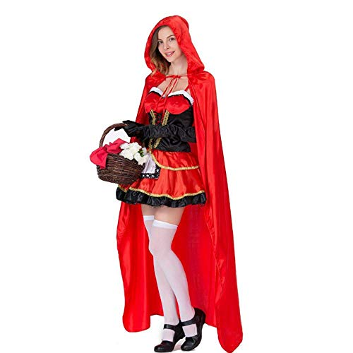 TUWEN HalloweenkostüM-Little Red Hat Cos Erwachsene Prinzessin Kleid Anzug Halloween KostüM Damen KostüM Prom Thema Party (Rot Prinzessin Halloween Kostüm)