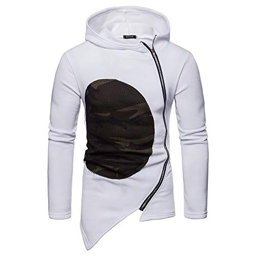 Herren Kapuzen Camouflage Zipper Jacke Langarm Outwear Bluse -