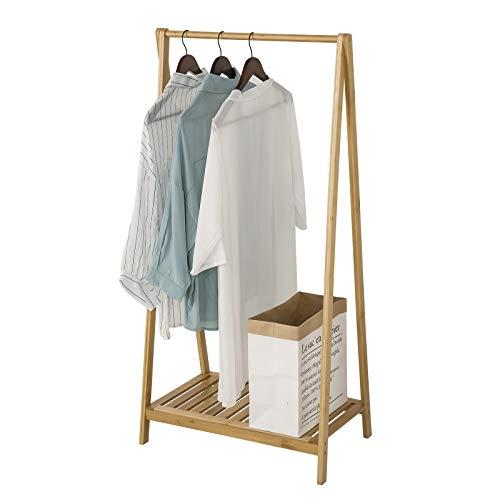 esituro SGR0018 Kleiderständer Kleiderstange Garderobenständer mit Shulregal Bambus Natur