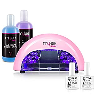 Mylee UV LED Gel Nail Curing Pink Lamp Kit, Professional High Quality Complete Starter Kits Including Light for Fast Nail Drying Manicure & Pedicure Lamp, Mylee Prep & Wipe, Mylee Gel Remover Kit + Pink Lamp