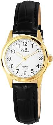 Just Just - Reloj analógico de mujer de cuarzo con correa de piel negra - sumergible a 100 metros de Just