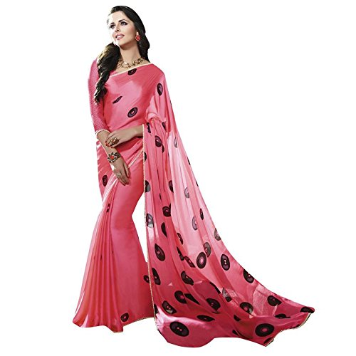 Shaily Pink Satin and Georgette Embellished Saree