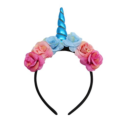 Lalang Einhorn Stirnband Horn Haarreif Haarband Kopfschmuck für Halloween Party (Blau)