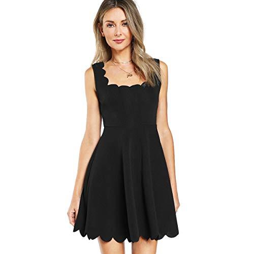 SOLY HUX Damen Mini Plissee Kleid Elegant Rückenfrei A Linie Ärmelos Ballonkleid mit Reißverschluss Falten Kleider Schwarz M Schwarz Reißverschluss Kleid
