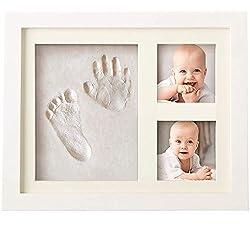 Bubzi Co Empreinte de main et de pied souvenir bébé - Argile blanche non toxique - cadre empreinte bébé en bois avec verre acrylique sûr - excellent cadeau naissance pour liste de naissance