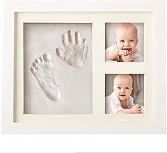 Idea Regalo - Bubzi Co Cornice con impronta bimbo in argilla - Kit portafoto con impronta della manina e del piedino del tuo bebè - Crea il tuo ricordo con il set impronte bimbi - Il regalo bimbo perfetto