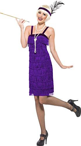 Schuhe Girl Flapper Kostüm - Smiffys, Damen Jazz Flapper Kostüm, Kleid und Kopfschmuck, Größe: X2, 22424