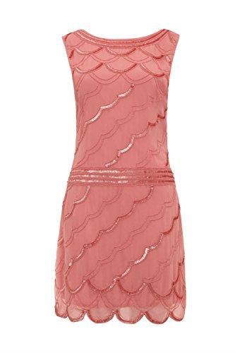 Love Camden Damen Cocktail Kleid orange korallenrot Einheitsgröße Gr. 42, (Flapper Kleid Orange)