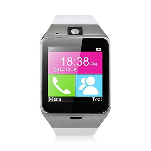 Excelvan GV18 - Smartwatch Reloj NFC Smartphone Libre 2G SIM (Cámara, Bluetooth, Sincronizar Llamada, Anti-pérdida) para Android IOS (Blanco)