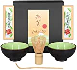 Matcha-Set 4-teilig, sommergrün, bestehend aus 2 Matcha-Schalen, Matcha-Löffel und Matcha-Besen (Bambus) in Geschenkbox. Original Aricola®